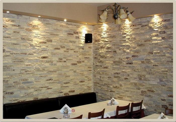 Rivestimento soggiorno pietra idee per il design della casa - Pietra decorativa interni ...